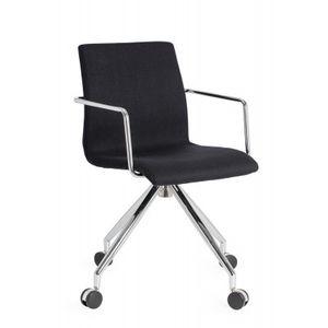 Office Chairs Design Black Four Star Base Chrome