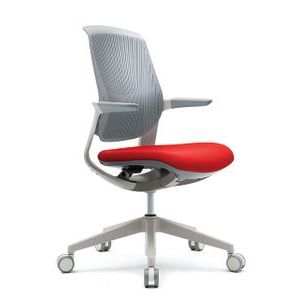 Office Chairs Fursys T25 White with Orange Seat Angle View