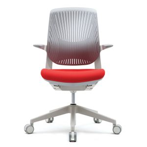 Office Chairs Fursys T25 White with Orange Seat Front View