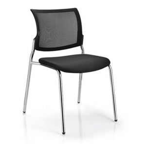 Office Chairs M100 Four Leg Chrome Angle View
