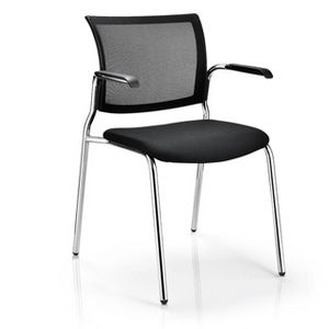 Office Chairs M100 Four Leg Chrome with Arms