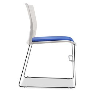Office Chairs Neko White with Blue Upholstered Seat Cushion Side View