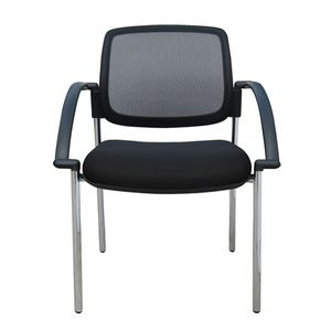 Office Chairs Titanium Mesh with Arms and Four Leg Base
