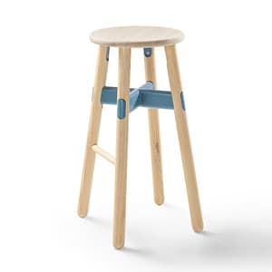 Office Seating Okidoki Bar Stool High with Ash Leg and Blue Powder Coat Frame