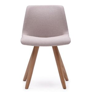 Office Seats Soda in Pink Beige Fabric with Ash Legs