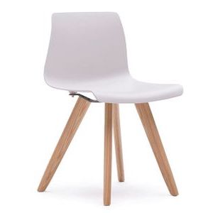 Office Seats Soda in Warm White Plastic with Ash Wood Legs