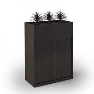 Office Storage Tambour Door with Planter Box Black