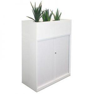 Office Storage Tambour Door with Planter Box White