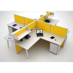 Office Workstations Cubicle System 4 L Shape Pod