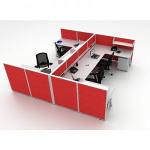 Office Workstations Cubicle System 4 U Shape Pod