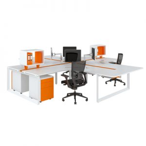Office Workstations Delta Fixed Height L Shape Pod